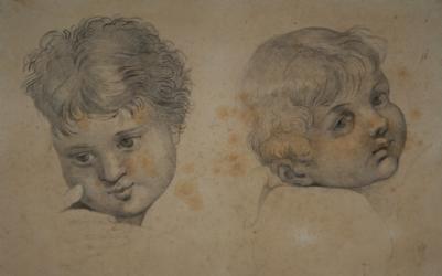 Handzeichnung Kopfstudie zwei Kinder