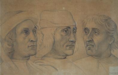 Handzeichnung Kopfstudien dreier Männer