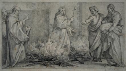 Handzeichnung San Giovanni Gualberto wohnt der Feuerprobe des San Pietro Igneo bei
