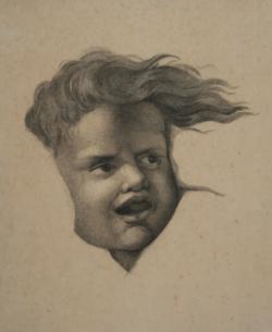 KU000353; Kopfstudie eines Kindes; Handzeichnung
