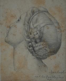 Handzeichnung Grablegung (Pala Baglione), (Kopfstudie einer Frau nach Raffael)