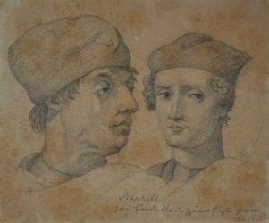 Handzeichnung Gerechtigkeit (Kopfstudien von zwei Männern nach Raffaels Fresko)