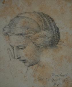 Handzeichnung Grablegung (Pala Baglione), (Kopfstudie nach Raffaels Gemälde)
