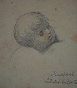 KU000450; Disputa del sacramento (Kopfstudie eines Puttos nach Raffaels Fresko); Handzeichnung