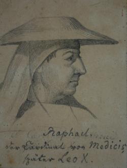 Handzeichnung Bildnis Leos X. Begegnung Leos d. Großen mit Attila (Kopfstudie von Leo X. nach Raffaels Fresko)