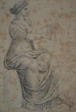 Handzeichnung Muse (Zeichnung einer antiken weiblichen Statue)