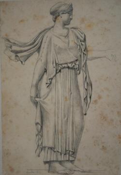 Handzeichnung Zeichnung einer unbekannten antiken Statue