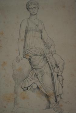 Handzeichnung sitzendes Mädchen (Zeichnung einer antiken Statue)