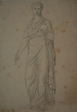 Handzeichnung Muse (Zeichnung einer antiken Statue)