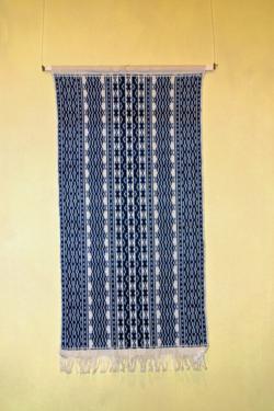 Freester Fischerteppich Schwedische Ornamente in Blau und Weiß