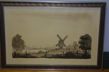 Gemälde Blick auf die Eldenaer Bockwindmühle und das Mühlengehöft sowie die Wiecker Brücke