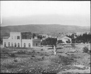 Glasplattendia Bahnhof und Templerkolonie in Jerusalem