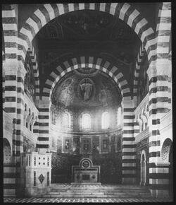 Glasplattendia Kaiserin Auguste Victoria-Stiftung: Innenansicht der Kirche [Jerusalem]