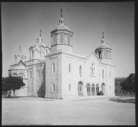 Glasplattendia Russische Kirche Jerusalem (v. NW) [Jerusalem]