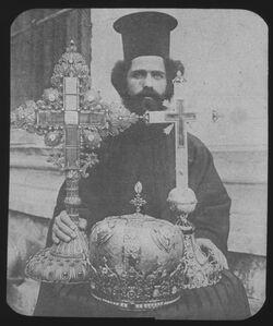 Glasplattendia Patriarchendiare u. Kreuze aus dem Schatz der Grabeskirche (Kreuzesholz im Kleineren) [Jerusalem]