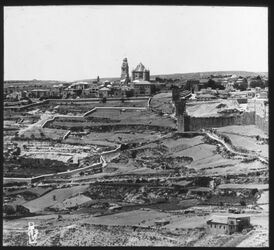 Glasplattendia Pan. v. Ölberg, Jerus. I. Teil Panor. V. Oelberg, Berg Zion [Jerusalem]