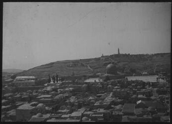Glasplattendia Jerusalem. Panorama v. Osten v. Turm der Erlöserkirche?