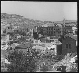 Glasplattendia Jerusal. Blick v. d. Stadtmauer zu Santa Anna v. NW [Jerusalem]