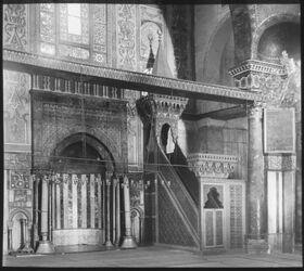 Glasplattendia Mihrab n. mimbar der Aksa, Jerusalem, Inneres d. el-Aksa-Moschee, Kanzel u. Gebetsnische