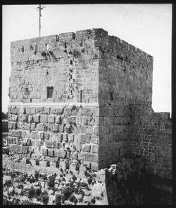Glasplattendia Davidsturm, Jerus. [Jerusalem]