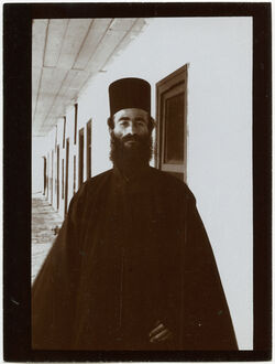 Fotografie Mönch Genuadios [?] Sinaikloster [Gebel musa, Katharinenkloster]