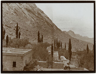 Fotografie aus d. Fenster des Gast. Zimmers in Sinaikloster [Gebel musa, Katahrinenkloster] n. NW