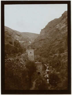 Fotografie Brücke im w. Kelt [wadi kelt] Blick aufwärts