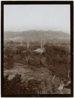 Fotografie g. [gebel/dschebel/djebel] Kruntul [Kuruntul, Berg der Versuchung] v. Jordanhotel in Jericho