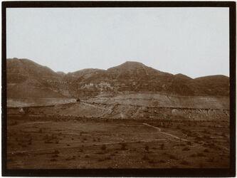 Fotografie gebel [dschebel/djebel] Kuruntul [Berg der Versuchung] aus der Gegend des alten Jericho