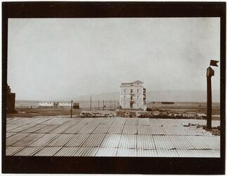Fotografie Rotes Meer n. g. [gebel, djebel, dschebel] über Hoteldach in suwes [Suez]