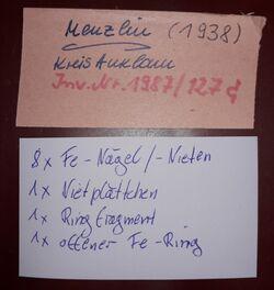 Eisennägel bzw. -nieten, Eisenringe, Menzlin, Menzlin, Altkreis Anklam