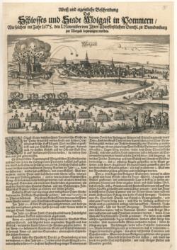 Einblattdruck Abriss und eigentliche Beschreibung des Schlosses und [der] Stadt Wolgast in Pommern [...]