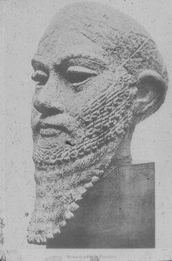 Glasplattendia New York, Metr. Mus., Bronzekopf eines Elamiters
