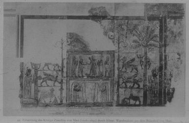 Glasplattendia Paris, Louvre, Wamdmalerei aus Palast von Mari: Einsetzung d. Zimrilim