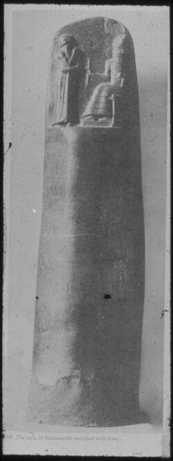 Glasplattendia Paris, Louvre, Die Gesetzesstele Hammurabis