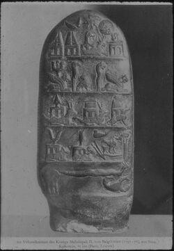 Glasplattendia Paris, Louvre, Urkundenstein d. Königs Melishipak II. von Babylonien (1191-177) aus Susa