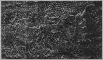 Glasplattendia London, Brit. Mus., Vertreibung d. Bewohner von Lachiš durch Sanherib