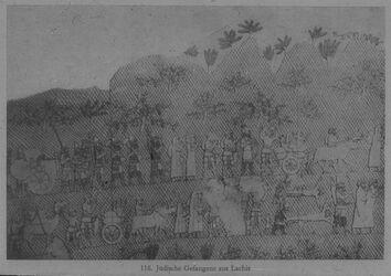 Glasplattendia London, Brit. Mus.; Relief aus Ninive: Jüdische Gefangene aus Lachiš