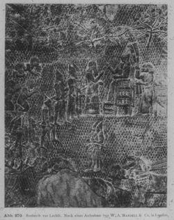 Glasplattendia London, Brit. Mus., Relief aus Ninive: Sanherib nimmt Unterwerfung von Lachiš entgegen.