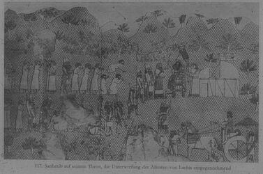 Glasplattendia London, Brit. Mus., Relief aus Ninive: Sanherib nimmt Unterwerfung von Lachiš entgegen