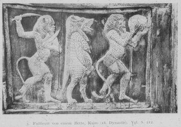 Glasplattendia Kairo, Nat. Mus., Fussbrett vo,m Bett, 18. Dyn.