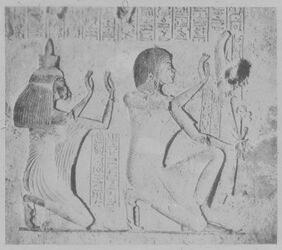 Glasplattendia El-Amarna [Tell el-Amarna], Grab des Eje, betendes Ehepaar