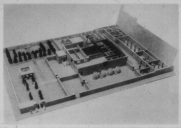 Glasplattendia Modell eines ägypt. Hauses in Amarna [tell el-amarna]