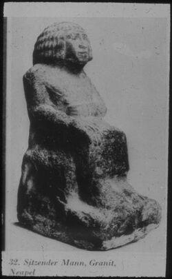 Glasplattendia Neapel, Sitzender Mann Dyn. Frühzeit