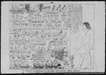 Glasplattendia Sakkara, Grabwand mit Darstellungen aus dem Leben mit rechts stehendem Toten. 5. Dyn.
