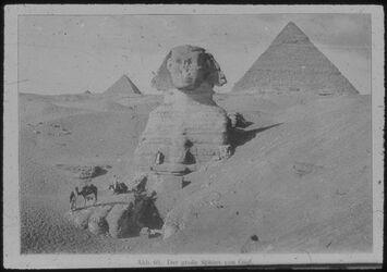 Glasplattendia Gise [Gizeh], Die grosse Sphinx. Im Hintergrund rechts Chefrenpyramide, links Pyramide des Mykerinos