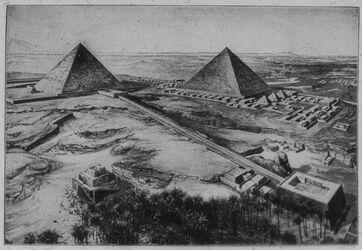 Glasplattendia Pyramidenfeld bei Fgise. Links Chephren- rechts Cheopspyramide mit Mastaben, vorn Aufweg z. Totentempel [Gizeh]
