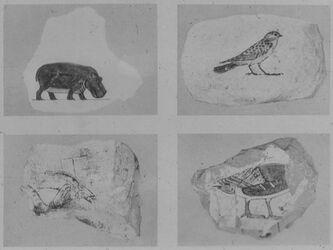 Glasplattendia Der el Bahri, Ostraka mit Vorzeichnungen , XVIII. Dyn. [Kugelschreiber] (Hatschepsut)