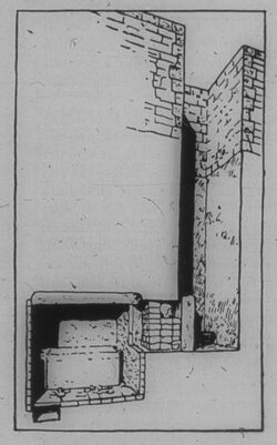 Glasplattendia Gise [Gizeh], Längsschnitt durch Mastaba d. 4. Dyn.
