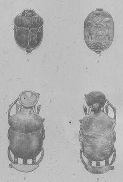 Glasplattendia Kairo, Nat. Mus., Skarabäus des Tutenchamun